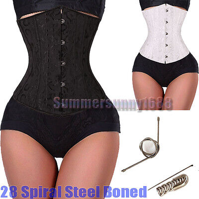 Black 28 steel bones boned Waist Training Underbust lace up corset Top Shaper](Black Corsets)