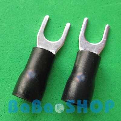 10pcs New Fork Terminal Crimp Spade Wire Connector 10 37amp 1412awg Black