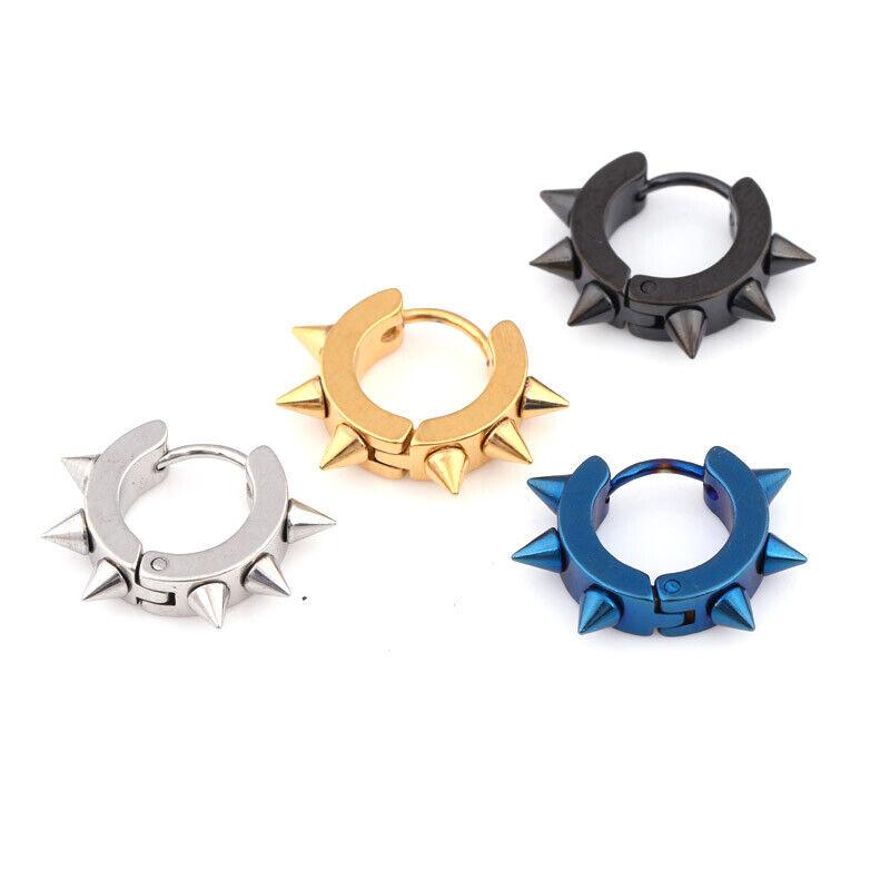 1 Pair Punk Style Spike Hoop Earrings For Men Women Jewelry Stainless Steel US Earrings