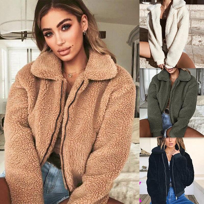 Damen Fleece Jacke Teddyjacke Übergangsjacke Winter Warme Mantel Kurze  Pelzjacke e3ba86201f