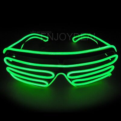 El Wire Neon LED Light Up Shutter Shaped Glasses for Rave Costume Party Fine