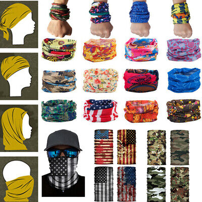Unisex Bandana Scarf Seamless Turban Riding Mask Neck Cover Snood Headband USA