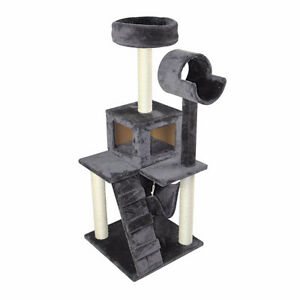 "51"" Deluxe Cat Tree Scratching Post Kitten Condo Play House Grey"
