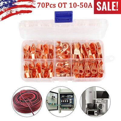 70x Car Open Barrel Copper Ring Lug Terminal Wire Crimp Connector Assortment Kit