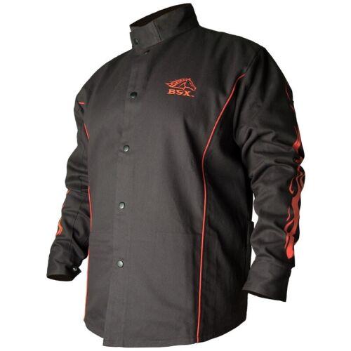 Welding Jacket Black with Red Flames Black Stallion FR Cotton BX9C X-Large