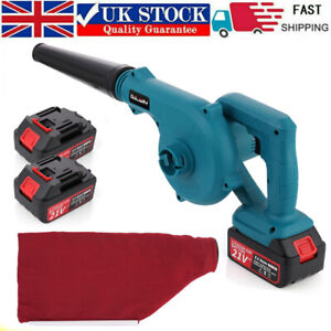 21V Cordless Blower with Vacuum Function Garden Leaf Blower 2 Battery + Dust Bag