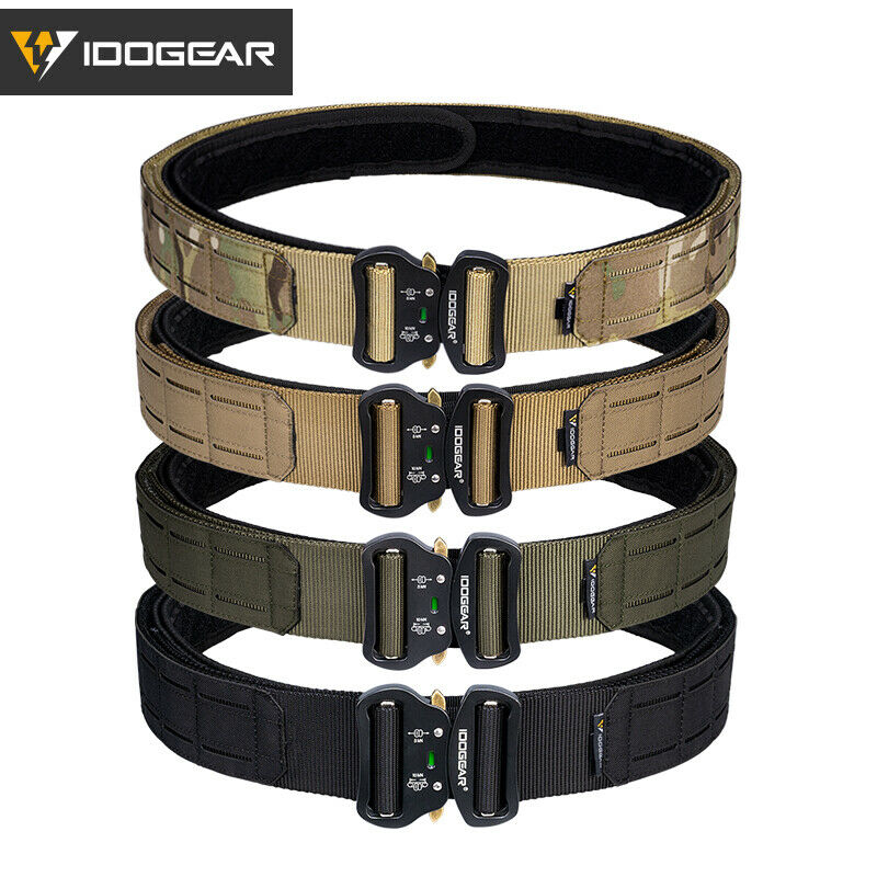 """IDOGEAR 2"""" Tactical Belt Quick Release Metal Buckle Laser MOLLE Military Hunting"""