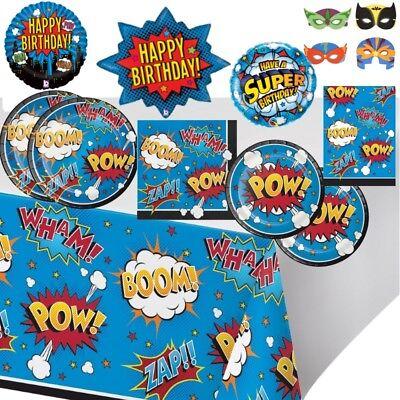 Superheld Cartoon Slogans Pow! Party Geschirr Dekoration Ballons