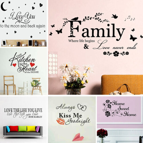 Home Decoration - Quote Mural Words Art Vinyl Wall Sticker Home Kitchen Room Decal Decor Family C