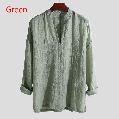 Summer Mens Cotton Linen Long Sleeve Vneck Shirt Loose Casual Shirts Tops