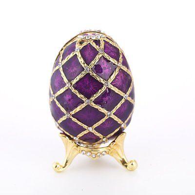 Antique Purple Egg Crystal Metal Trinket Box Figurines Jewellry for Wedding Gift Crystal Purple Trinket Box