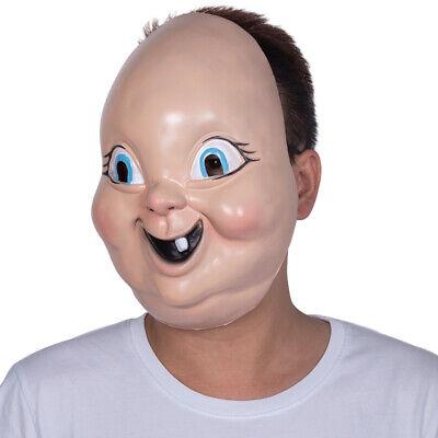 Happy Baby Halloween Mask (Creepy Scary Halloween Happy death EL baby face Party mask)