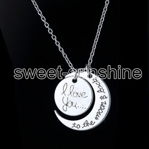 Charm Family Gift Personal I LOVE YOU TO THE MOON AND BACK Moon Pendant Necklace