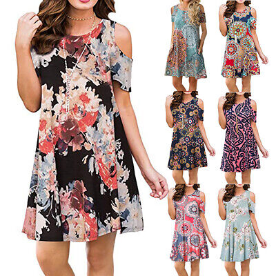 Womens Summer Off Shoulder A Line Floral Tunic Dress Casual Midi Beach Sundress