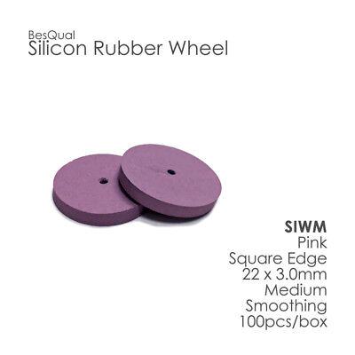 Dental Lab Silicone Rubber Polisher Wheel Pink Medium 100 Pieces