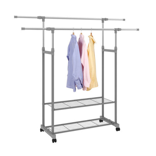 Garment Rack Double Rail Rolling Wheel Clothes Drying Hanger