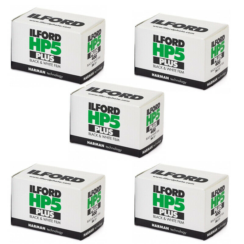 5 Rolls Ilford HP5 Plus 135-24 Exp. Black & White Print 35mm Film, 1700646