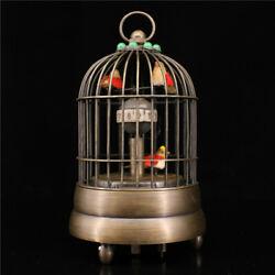 5.91 Antique copper inlay gemstone birdcage classical Mechanical Clocks