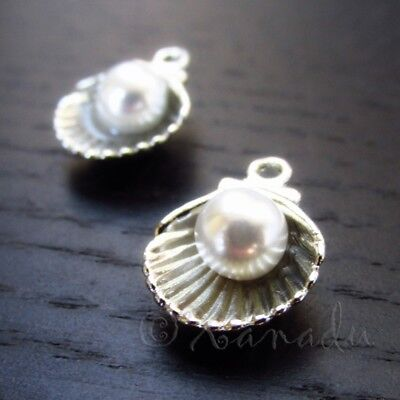 Scallop Shell With Pearl 15mm Silver Plated Seashell Charms C7326 - 5, 10, 20PCs (Scalloped Shell Charm)