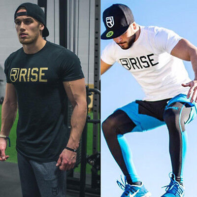 Men Gyms Clothing Fashion Casual Tees Fitness Bodybuilding Workout t shirts  Top