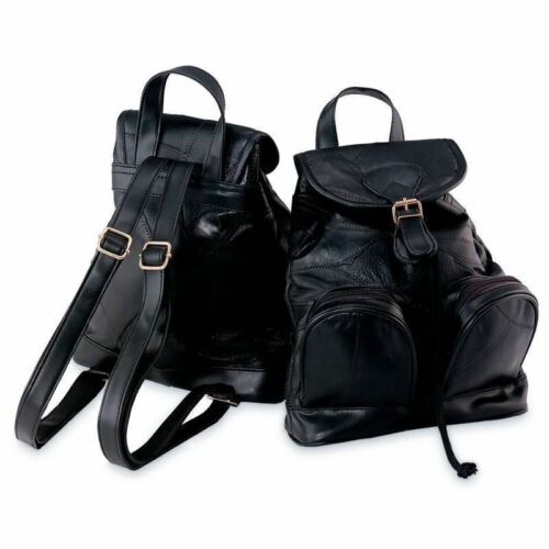 Womens Lambskin Leather Backpack Purse, Small Black Bookbag