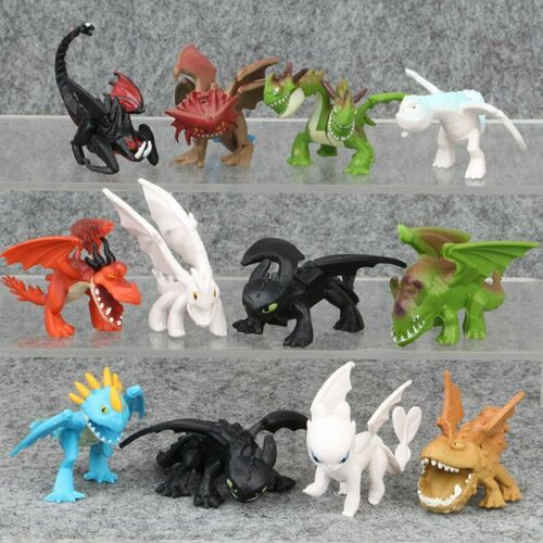 How To Train Your Dragon 8pcs//set PVC Action Figures Toy Doll Night Fury Toothless Anime Movie Dragon Figure Set