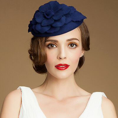b144b9b0616b0 A083 Womens 1950s GATSBY Style Fascinator Wool Cocktail Hat Beret Race  Wedding