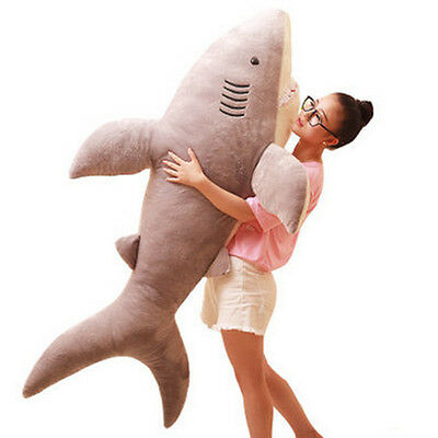 60 Giant Big Hung Shark Plush Soft Toys Stuffed Animals Doll Gray Gift 150Cm