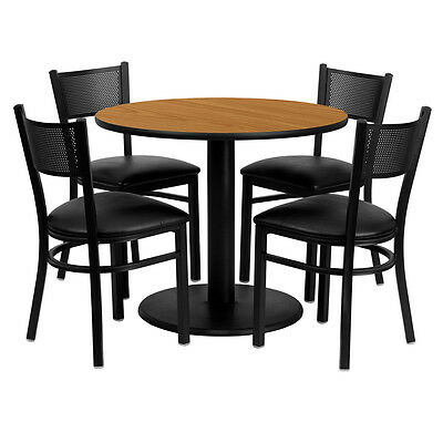 36'' Round Natural Dining Table w 4 Grid Back Metal Kitchen Chairs Black Seat