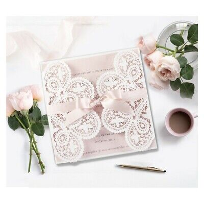 Wedding Invitation Sets (ROMANTIC LASER CUT WEDDING INVITATIONS WITH ENVELOPES DIY SET FREE)