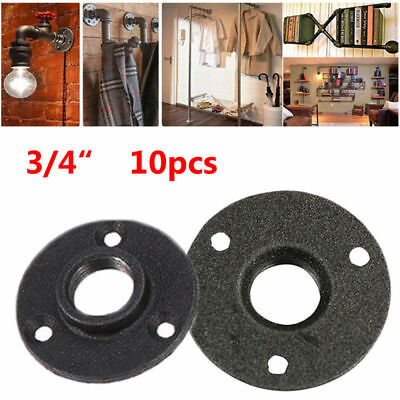 10pcs 34 Black Malleable Threaded Floor Flange Iron Pipe Fittings Wall Mount