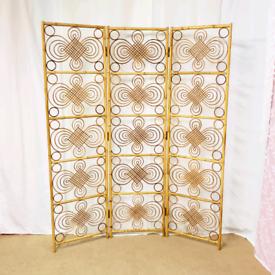 Vintage mid century 70's bamboo cane room divider screen, Boho
