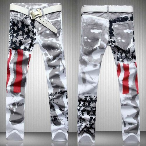 Купить Men's American Flag Printed Distressed Jeans Slim Fit Long Pants Trousers  Jeans