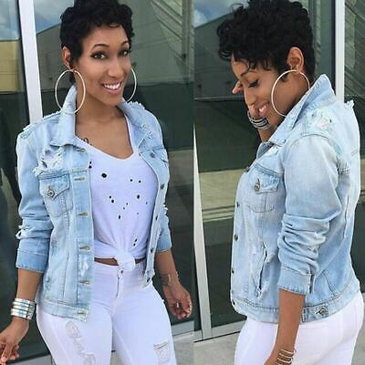 Damen Jeansjacke Damenjacke Denim Jeans Jacke Kurze Jacke Stretch Denim Mantel Blau Damen Jacke