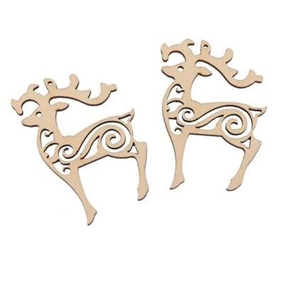 10pcs Reindeer Laser Cut Out Wooden Embellishment Tag w/String Christmas - Reindeer Cut Out