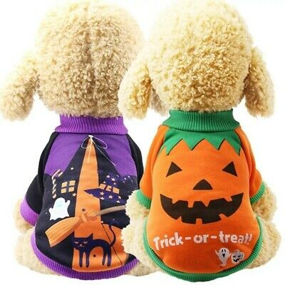 Pet Dog Pumpkin Suit Halloween Costume Party Clothes  Puppy Cat