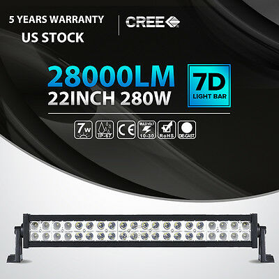 22inch 280W CREE LED Light Bar Spot Flood Combo Offroad Pickup Truck ATV 4WD 24""