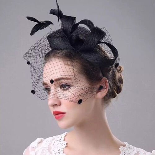 Wedding Races Party Fascinator Veil Net Flower Hat with Feather Hatinator