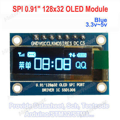 0.91 Blue Spi Serial 128x32 Oled Lcd Display Module Screen For Arduino 3.3v5v