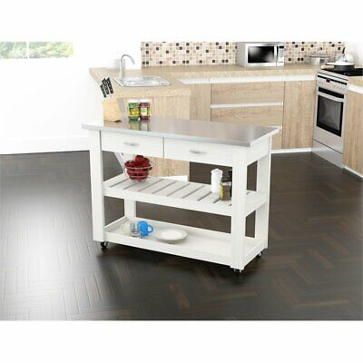 Inval Washed Oak Kitchen Cart with Stainless Steel Top