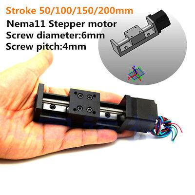 Linear Slide Z Axis T6 Mini Leadscrew 4mm Pitch 50-200mm Stroke Nema11 Stepper