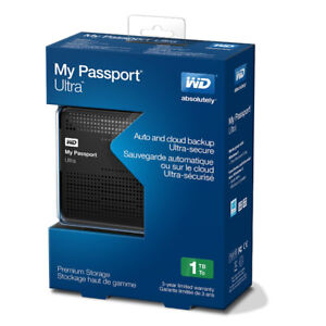 WD My Passport Ultra 1TB Portable External Hard Drive USB 3.0 wi