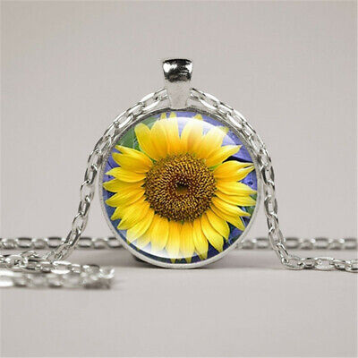 You Are My Sunshine, Sunflowe Photo Cabochon Glass Silver Chain Pendant Necklace