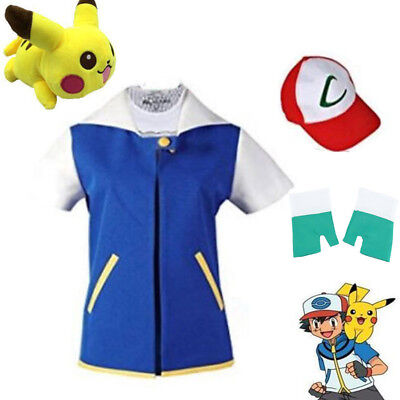 Pokemon Ash Ketchum Trainer Costume Cosplay Shirt Jacket + Gloves + Hat US (Ash Cosplay Pokemon)