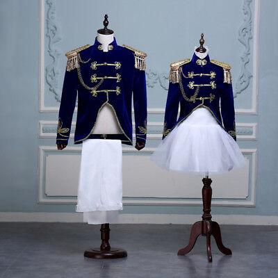 King Prince Renaissance Medieval Men Women Cosplay Costume Coat+ Pant/ Dress Set