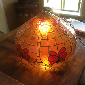 Hand crafted leaded glass hanging light