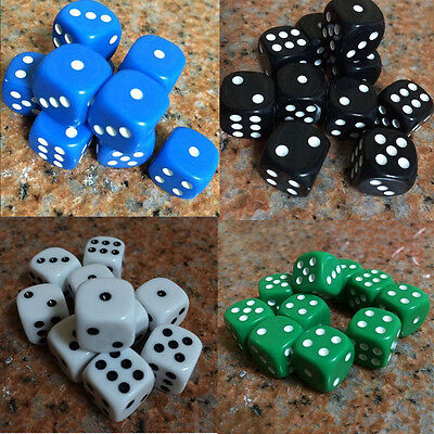 10Pcs Acrylic Six Sides Spot Dot D6 Playing Game Color Dices Bar Pub Toy New US