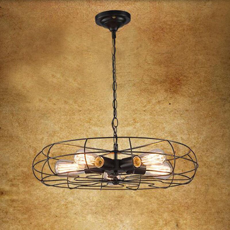 Rustic Industrial Iron Ceiling Fan Light Chandelier Metal Ha