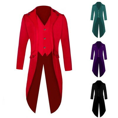 Retro Men Party Clothes Suit Punk Coats Tailcoat Jacket Ringmaster Tail Tuxedo - Punk Suit