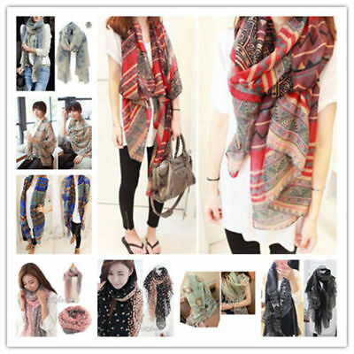 (Women Soft Long Neck Large Scarf Wrap Shawl Pashmina Stole Scarve Chiffon Cotton)